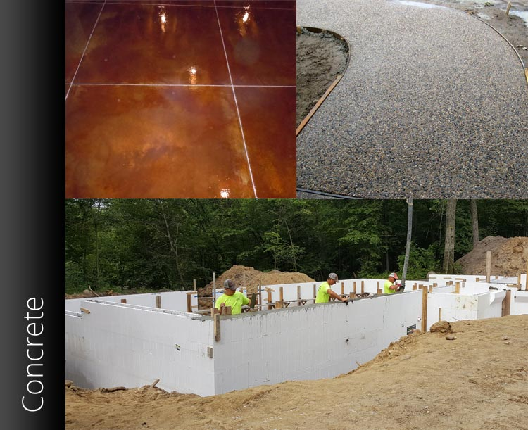 Collage of three photos showcasing J Wiener Construction's Concrete Construction Services - decorative concrete, ICF construction, exposed aggregate