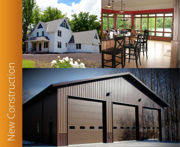 Collage of three photos showcasing J Wiener Construction's New Construction services - homes, interiors, and pole buildings