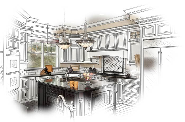 3D Drafted Custom Kitchen with blueprint lines that's coming to life in the center